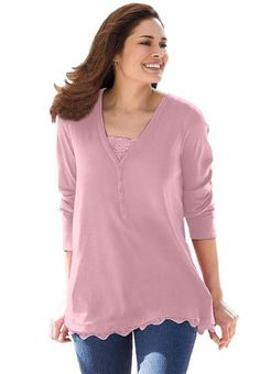 Woman Within Plus Size Top, 2-in-1 t-shirt with lace trim for only $19.99