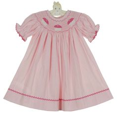 NEW Precious Kids Pink Checked Cotton Smocked Bishop Dress with Cupcakes Embroidery $60.00