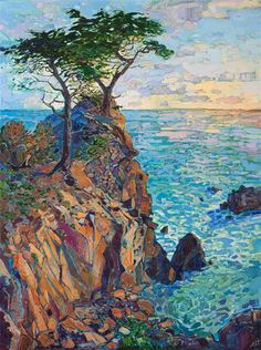 California rocky cliffs in Pebble Beach painted in oils on canvas by contemporary impressionist Erin Hanson.
