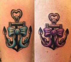 Best friend anchor / bow tattoos done by Jesse Myers.  #anchortattoo #bowtattoo #thesilverkeytattoo #bfftattoos #bestfriendtattoos