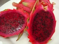 Dragon fruit, a cross between a strawberry and a pear.