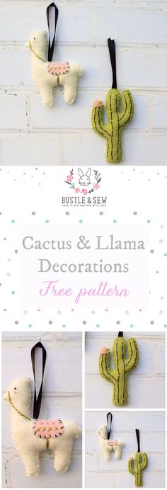 Felt Llama & Cactus Decorations - a free sewing pattern from Bustle & Sew.     2017 has definitely been the year of the cactus - and the llama too! So I thought it would round the year off nicely by finishing with two simple felt decorations perfect for even the most on-trend tree! | free sewing pattern | felt | Christmas decorations | cactus | llama | handmade Christmas | felt cactus | felt llama
