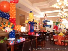 Clown balloon sculpture party decoration www.dreamarkevents.com