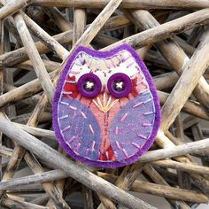 Retro Owl Brooch, with 70s floral Pink Purple Vintage Fabric and Lilac Silk £5.00