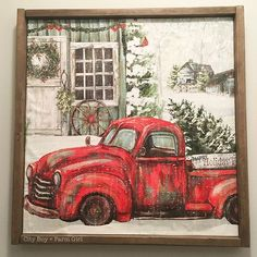 Love this red truck! Christmas Red Truck, Christmas Love, Christmas Signs, Country Christmas, Christmas Pictures, Christmas Projects, Vintage Christmas, Christmas Ideas, Metal Tree Wall Art