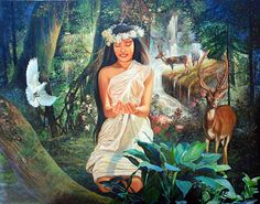 Diwata- Philippine myth: a dryad-like spirit that was benevolent and neutral. She invoked positive crop growth, health and fortune. They can also incur illness, or misfortune if not respected. They reside in large trees and are guardians of nature.