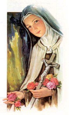 Theresa, the Little Flower Sainte Therese De Lisieux, Ste Therese, Catholic Art, Catholic Saints, Roman Catholic, Religious Images, Religious Art, Christian Paintings, Jesus Art