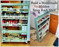 This step by step tutorial of how to build a homemade hidden spice rack diy project is a great way to create a rolling shelf to put to good use otherwise wasted space.