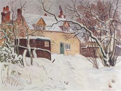 A COTTAGE IN THE SNOW By Gilbert Spencer