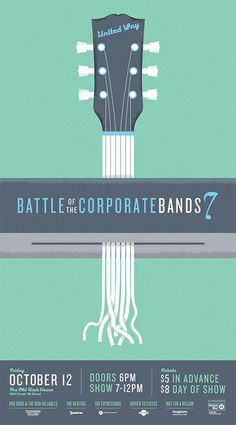 United Way Battle of the Corporate Bands - Graphis Guitar Posters, Band Posters, Singing Competitions, Design Competitions, Poster Layout, Poster Ideas, Music Competition, United Way, Graphic Design Inspiration