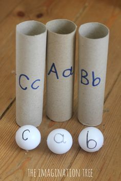 Literacy play with alphabet ping pong balls