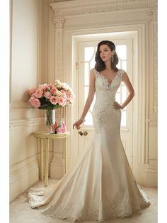 Elegant V-Neck Satin Mermaid Bridal Wedding Dresses With Lace Appliques 3902054