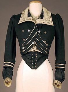 Early 1900s Bodice; Wool Felt, Contrasting Embroidery & Soutache. Whitaker Auction Co.