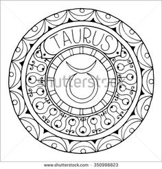 Zodiac sign of taurus and constellation in mandala with ethnic pattern. Set of black and white icon. Horoscope and zodiacal template. Can be used for magazine, coloring book. Hand drawn doodle circle.