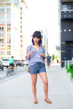 Embroidered Blouse + Chambray Shorts - The Girl With Bangs #fashion #style #blogger