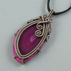Rose Colored Agate Slice and Sterling Silver by GailaviraJewelry
