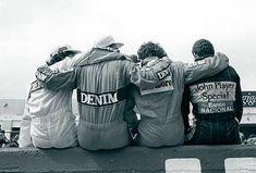 Foto histórica Senna, Prost, Mansell e Piquet (costas)