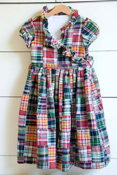 Aesthetic Nest: Sewing: Madras Patchwork Ruffle Dress and Apron Dress