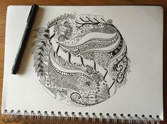 Zentangle doodle circle garden flowers zenart zendoodle