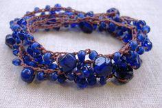 Deep Blue Sand Dollar 5 wrap coastal bracelet by SeaSideStrands