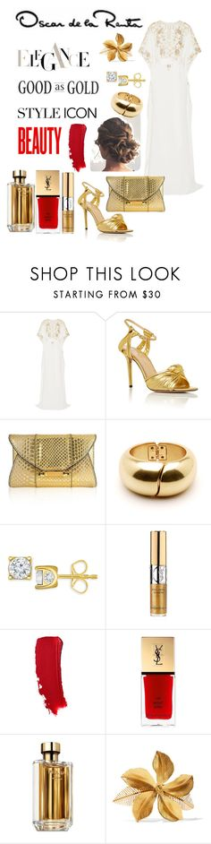 """""""Untitled #425"""" by skylovessave ❤ liked on Polyvore featuring Oscar de la Renta, Charlotte Olympia, Judith Leiber, TruMiracle, Yves Saint Laurent, Prada and Jennifer Behr"""