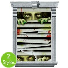Sized for large windows, Peeping Zombie Window Decorations look like zombies looking through blinds. Trim Peeping Zombie Window Decorations to fit any wall or window. Movie Halloween Costumes, Halloween City, Halloween Scene, Halloween Crafts, Halloween Ideas, Halloween Zombie, Magic Decorations, Zombie Decorations, Halloween Window Decorations
