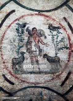 Good Shepherd, fresco (3rd century) in Catacomb of Priscilla (3rd century), Rome, Lazio, Italy