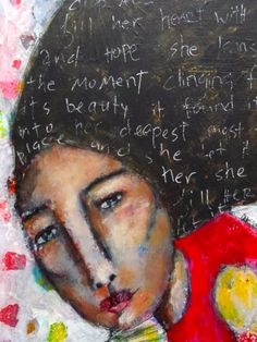 she let it fill her mixed media painting by studiothrive on Etsy, $125.00