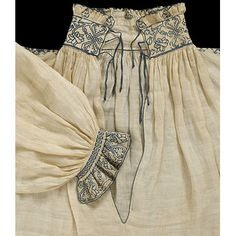 Shirt, England, 1540-1549 (Victoria and Albert Museum). Splendid blackwork on the collar and cuffs.