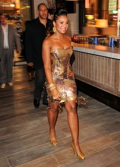 Ashanti Slingbacks - R&B star Ashanti showed off these metallic gold sling-backs at a Hollywood event. These shoes were the perfect match to her sequined strapless dress. The added fringe at the bottom was killer. Christina Milian, Black Celebrities, Celebs, Beautiful Black Women, Beautiful People, Beautiful Eyes, Beautiful Pictures, Sexy Outfits, Sexy Dresses