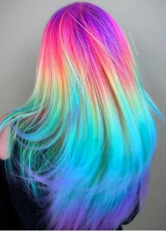 Experts who used to work ombre styles are now concentrating on fancy rainbow hair colors these days. Looking for Christmas Hair Colors Ideas? Here is 7 Crazy Rainbow Christmas Hair Colors Ideas for Trendy Girls to wear, Check them NOW Cute Hair Colors, Pretty Hair Color, Beautiful Hair Color, Hair Dye Colors, Unique Hair Color, Rainbow Hair Colors, Pastel Rainbow Hair, Colorful Hair, Crazy Hair Colour