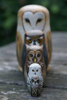 Owl matrushkas Pinned by www.myowlbarn.com