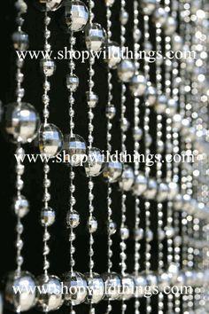 Disco ball bead curtain.