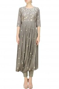 Fossil Grey Embroidered Drape Kurta And Straight Pants