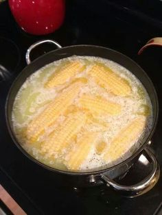Fill pot with water then add a stick of salted butter and 1 cup of milk. Bring to a rapid boil. Put ears of corn in turn heat to low simmer for 5-8 minutes. It will be the best corn on the cob you have ever had !!!