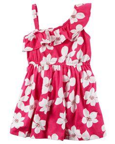 One Shoulder Floral Jersey Dress