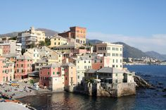 Photo about A shot of a pretty small harbour in genova, italy. Image of port, buildings, houses - 3735691 Genoa Italy, Continents, Places Ive Been, Beautiful Places, Coast, Skyline, Vacation, Country, Places