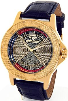 Super Techno Diamond Watch Mens Genuine Diamond Watch Oversized Gold Case Leather Band w/ 2 Interchangeable Watch Bands #M-6154 - Jewelry For Her