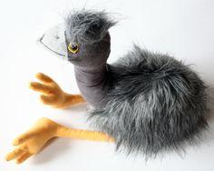 Grey Emu Native Australian Bird Furry Soft Toy by andreavida