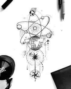 Future Tattoos, New Tattoos, Body Art Tattoos, Small Tattoos, Sleeve Tattoos, Tattoo Sketches, Tattoo Drawings, Geometric Universe Tattoo, Unique Small Tattoo