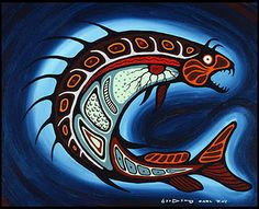 Carl Ray Spirit Fish, c. 1975 acrylic on canvas x cm Purchase 1975 McMichael Canadian Art Collection Native American Artists, Canadian Artists, American Indians, Cree Indians, Native Canadian, Indian Drawing, Woodland Art, Haida Art, Inuit Art