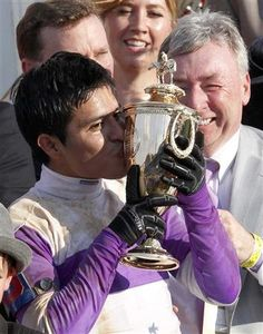 Jockey Mario Gutierrez  wins with I'll Have Another~ 138th Kentucky Derby