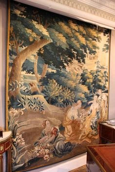French antique tapestry, Antique 18th century french tapestry with lining, Tapestry Aubusson, French Tapestry, Large french antique tapestry