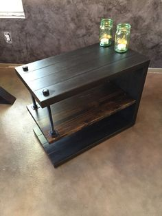 Hand built custom size nightstand or end table. Made of steel and wood. Extremely durable. Discounted when larger quantity is ordered. Ask