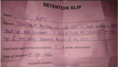 The teacher who assigned this detention: | 19 Teachers Who Deserve A Medal Um.... I am planning to do that