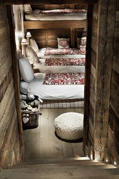 .very rustic look to the stairwell and bedroom with room for a whole family!