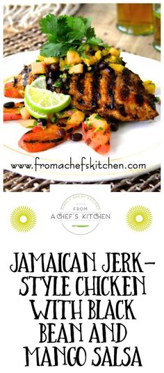 Up your grill game this summer with Jamaican Jerk-Style Chicken with Black Bean and Mango Salsa! /chefcarolb/