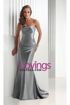Mermaid Strapless Sweep/Brush Train Elastic Satin With Beadings Prom Dresses US$ 149.99 LDPXY57M4G - LovingsDresses.com for mobile