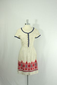 1950s Dress  Vintage Tweed Like by VintageFrocksOfFancy on Etsy
