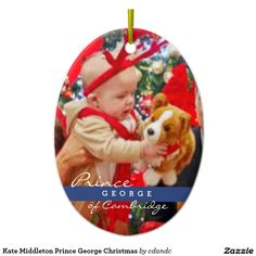 Kate Middleton Prince George Christmas Ceramic Oval Ornament